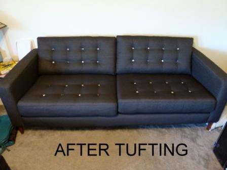 IKEA Karlstad Sofa Makeover With Button Tufting