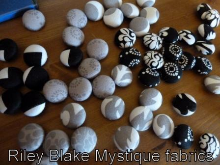 Buttons covered in Riley Blake Mystique fabrics