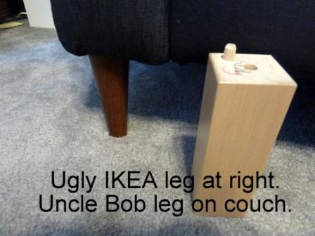 IKEA sofa leg compared to Uncle Bob's replacement legs