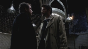 Fan favorites Crowley and Castiel.  Both great with one-liners, not so much with wardrobe changes.