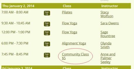 Keep your eyes peeled for deals like this community class from Durham Yoga Company.  Lots of studios have something similar.
