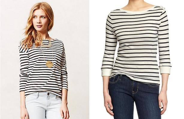 Yes, the Anthro picture looks more glamorous, but their tee is still a cotton, black and white striped 3/4 sleeve tee, which make it awfully similar to this Old Navy one in my book.