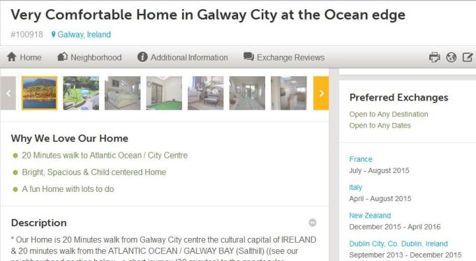 Here's a partial listing for a home in Galway, Ireland from one of the largest swapping sites, HomeExchange.com.